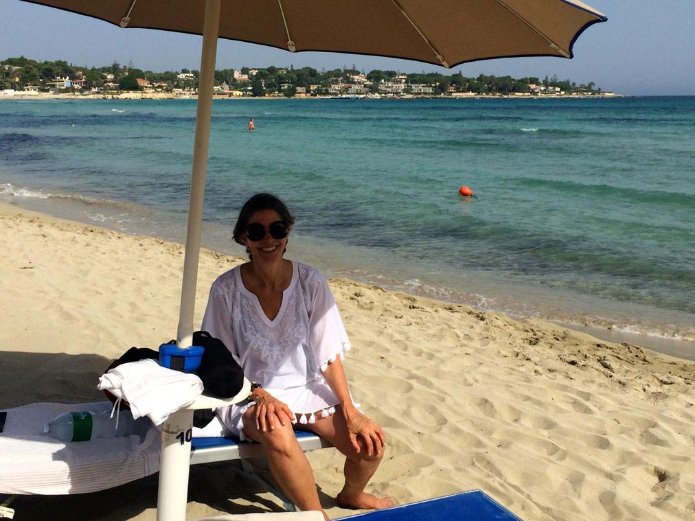 Guest enjoying her Yoga Retreat in Sicily