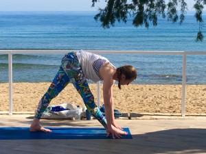 Yoga class in Crete by the sea.