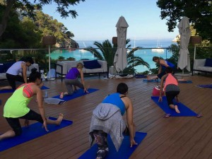 Hamstring stretches at the Spain yoga retreat.