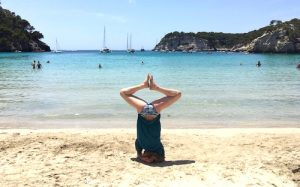 yoga in menorca spain on cala galdana beach