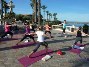 Heart opening exercise at the Italy yoga retreat.