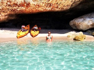 Kayaking in Cala Galdana with the Yoga Escapes team