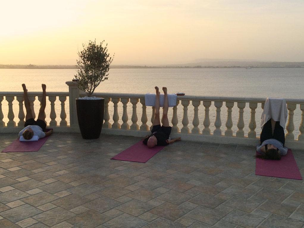Legs up the terrace in Sicily Yoga Escape