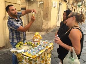 A lemon street vendor in Noto, Sicily.