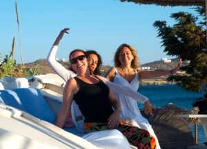 our yogis in mykonos on a luxury yoga retreat with Yoga Escapes