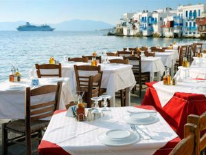 dinner at little venice on mykonos greece with Yoga Escapes