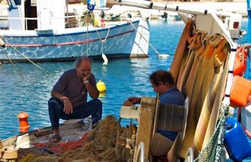 Local fishermen in Crete