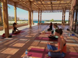 meditation during a yoga retreat in egypt