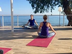 Meditation stillness at the luxury yoga retreat in Crete.