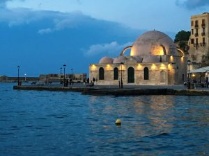 mosque in chania town on crete greece with yoga escapes