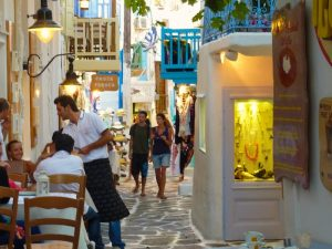 strolling around mykonos greece town streets on a yoga retreat with Yoga Escapes