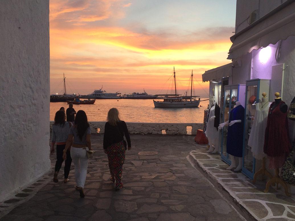 Mykonos town at sunset