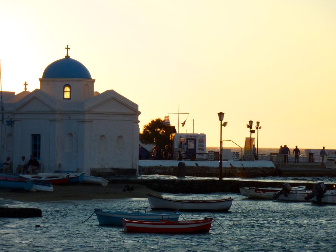 Mykonos town church at sunset