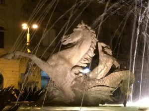 Mythological statue at night in Yoga Retreat of Sicily