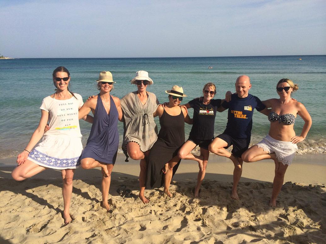 One-legged stance on the beach near the Yoga Retreat