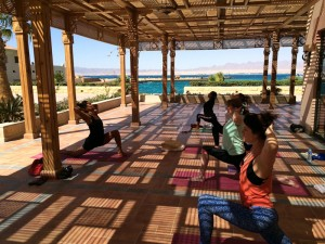 Opening the heart at the yoga retreat in Egypt.