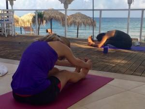 Pashimotanasana yoga, Crete.