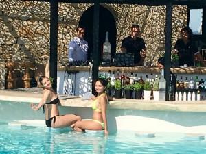 Pool bar on a luxury yoga retreat in Mykonos Greece with Yoga Escapes