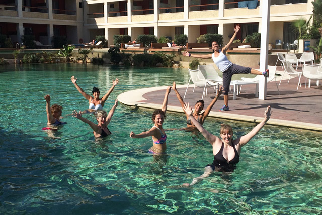 Pool class on Yoga Escapes retreat