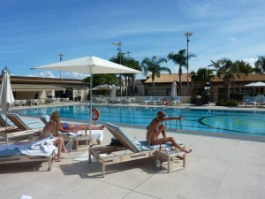 The pool at the Minareto hotel in Sicily, Italy.