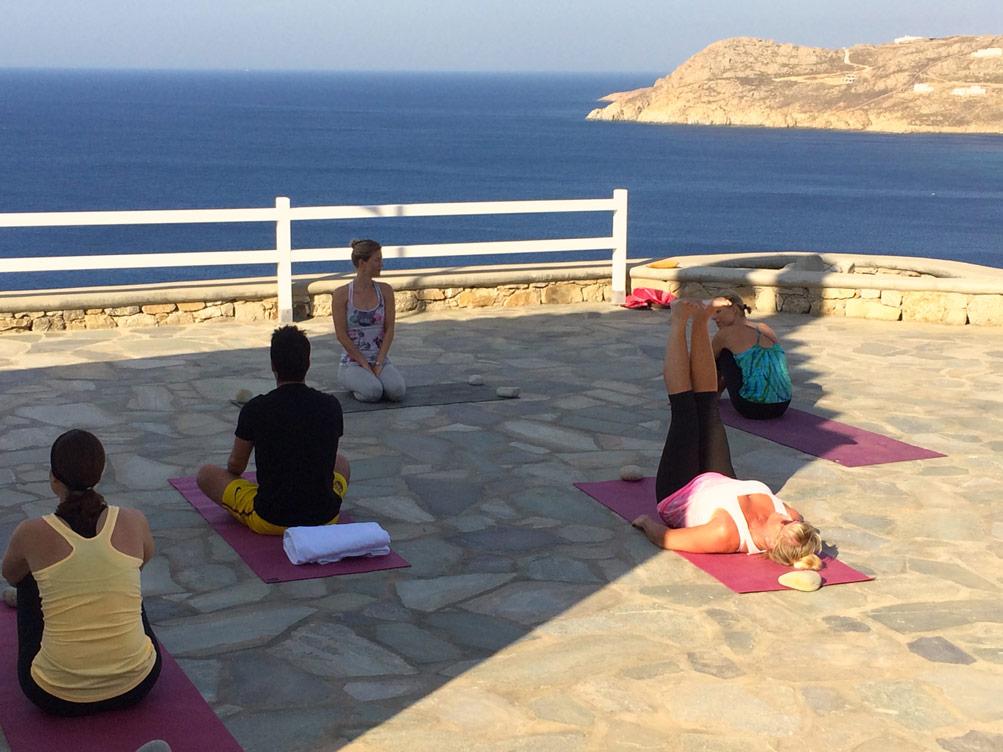 Preparing for yoga class in Mykonos, Greece