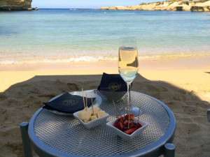 prosecco on beach in italy on a yoga retreat