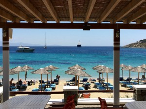 Day trip to Psarou beach on Mykonos Greece after yoga class with Yoga Escapes