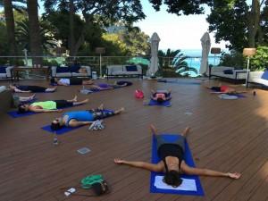 Savasana by the beach at the Menorca yoga retreat.