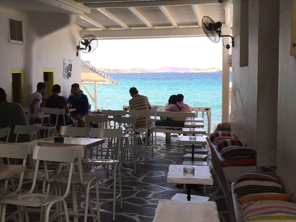 Seaside cafe in Mykonos on a Yoga Retreat