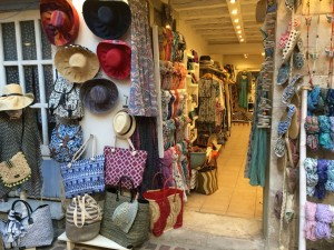 Accessory shopping in Chania town, Crete.
