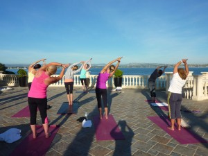 Side stretching at the yoga retreat, Italy.