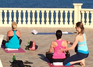 Sitting poses at the yoga retreat, Italy.