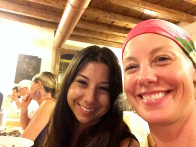 smiles around the dinner table at the Yoga Retreat in Sicily