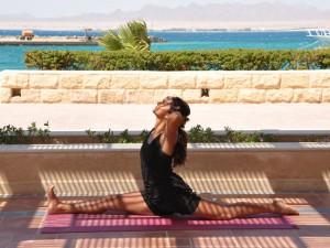 Doing the splits in the Egypt yoga retreat.