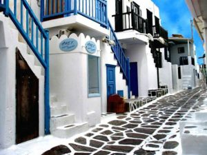 strolling the streets in mykonos town with our yoga group