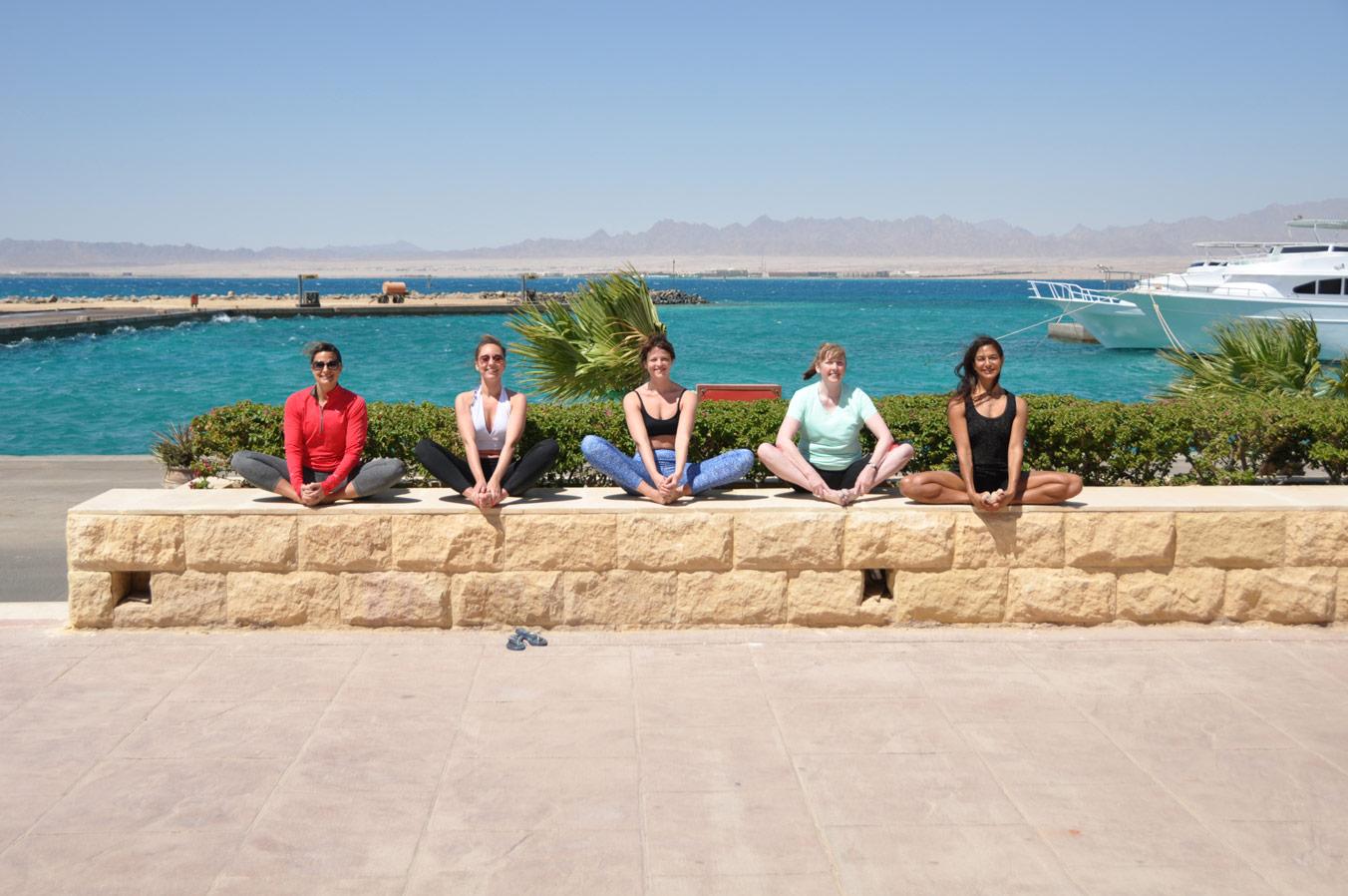 Stretching in Egypt Yoga Retreat