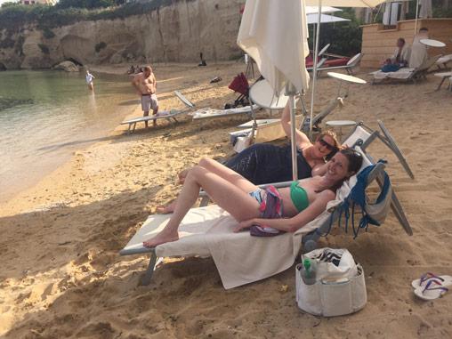 Sunbathing at Yoga Retreat in Sicily