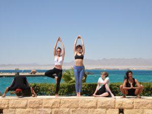 Sunny poses at the Egypt retreat.