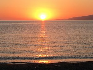 sunset in mykonos greece after yoga class with Yoga Escapes
