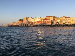 Beautiful sunset over Chania, Crete.