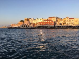 sunset over chania town in crete