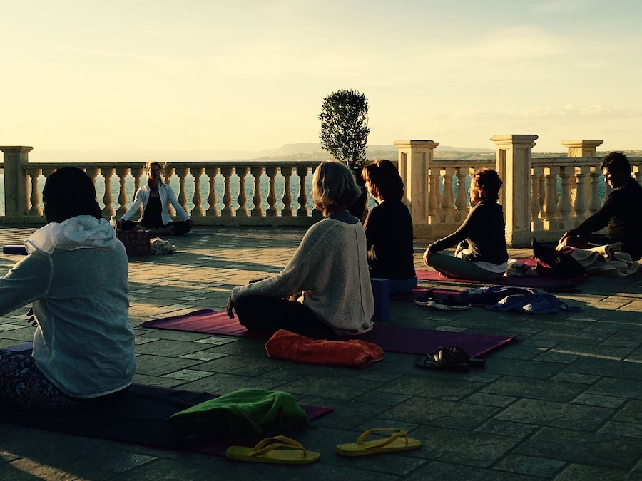 sunset yin yoga class in italy