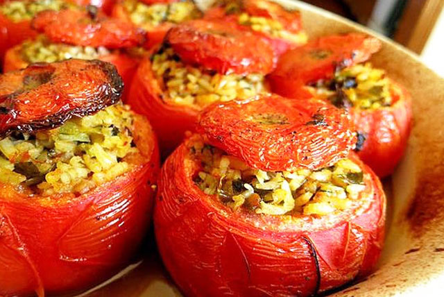 Delicious greek stuffed tomatoes in Crete Greece with Yoga Escapes yoga retreats