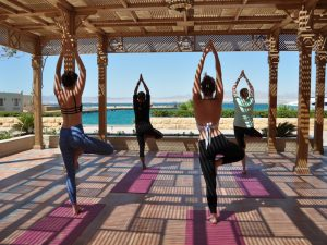 yoga class in egypt on a luxury yoga retreat