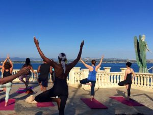 tree pose on a yoga holiday in sicily italy