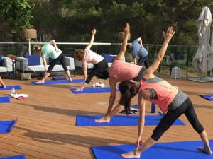 Triangle pose at the yoga retreat in SPain.