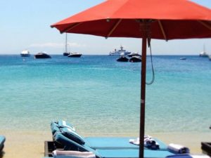 view of the sea from nammos beach bar in mykonos