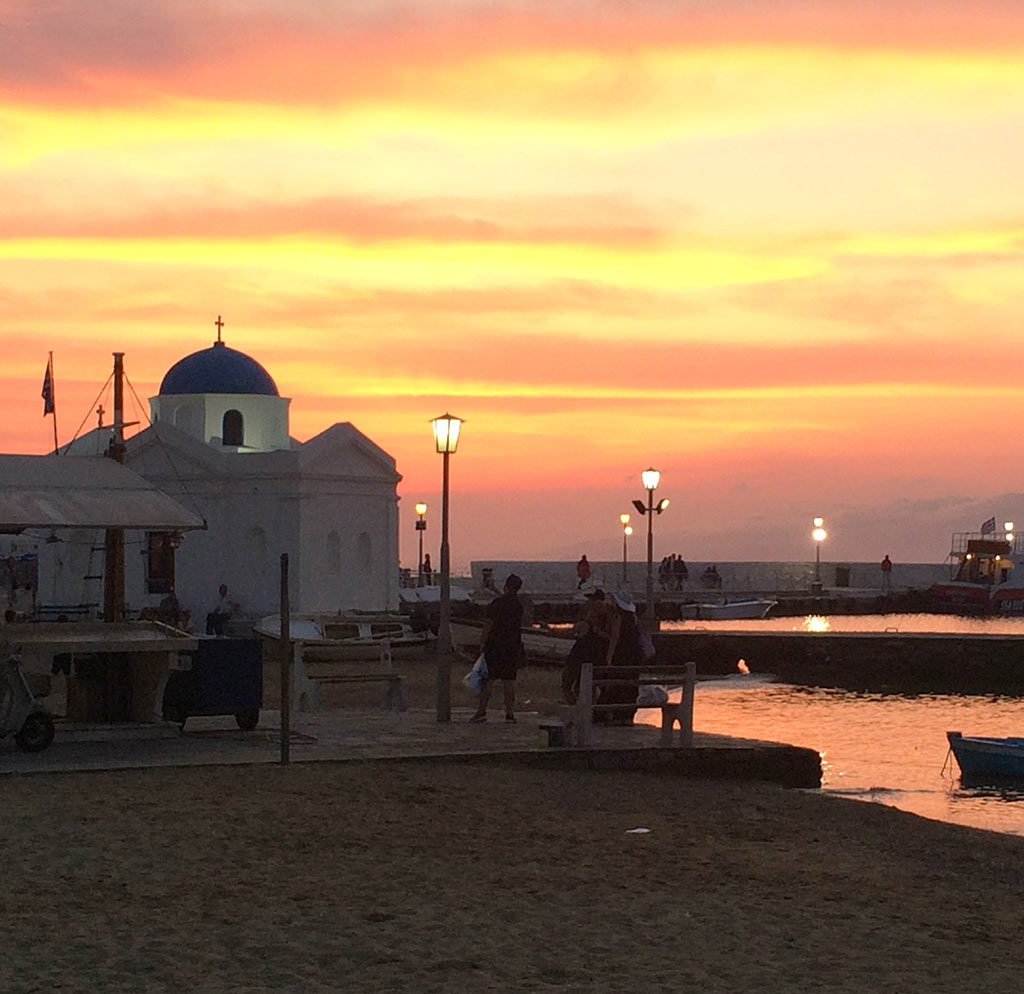 Visit Mykonos at sunset after your Yoga Escapes evening class