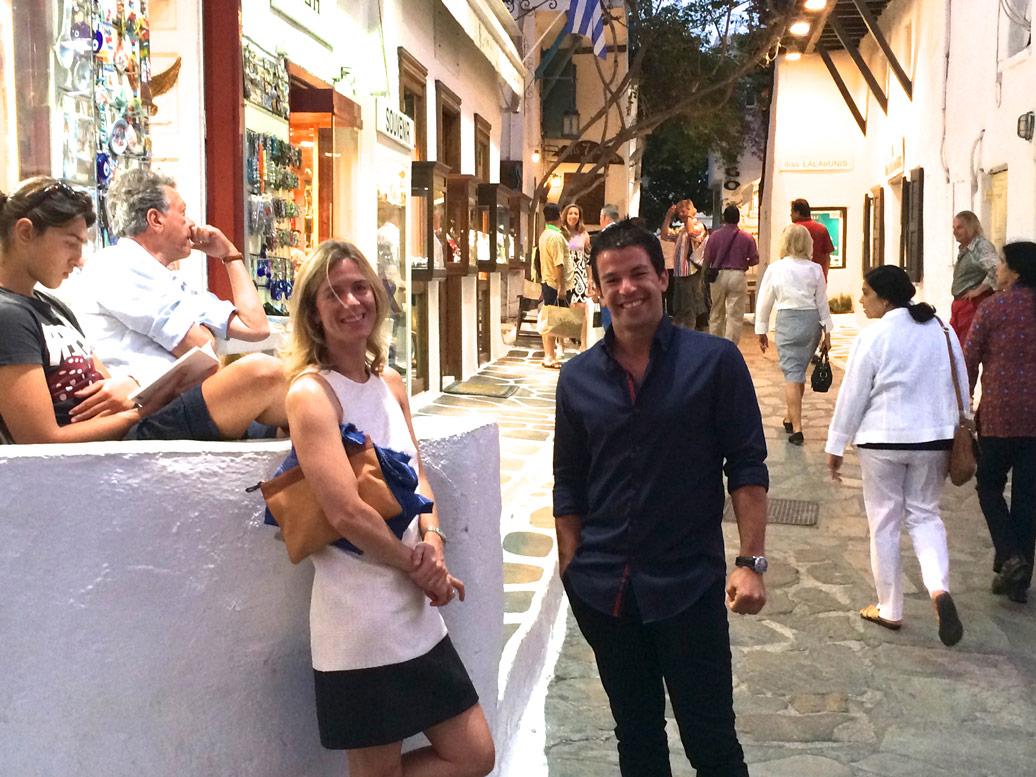 Walking in Mykonos town on a Yoga Escape