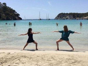 two person warrior pose at the yoga retreat spain  yoga